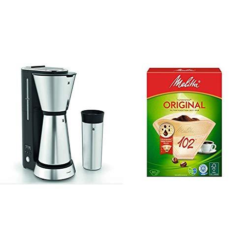 WMF Küchenminis Aroma Filterkaffeemaschine mit Thermoskanne, 870 Watt, Thermobecher to go, kleine Kaffeemaschine Timer, cromargan matt & Melitta Filtertüten Naturbraun 102 / 80