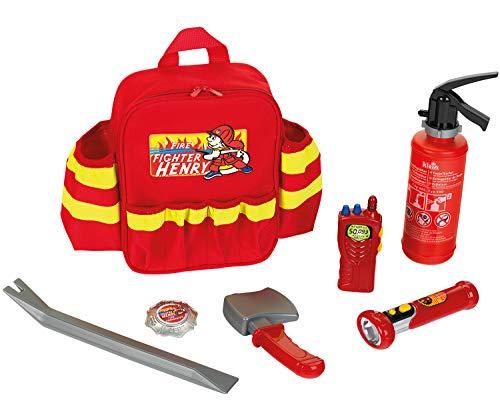 Theo Klein 8900 Mochila de bomberos Fire Fighter Henry, Con linterna a pilas, extintor y mucho más, Mochila robusta con reflector y correas ajustables, Medidas: 28 cm x 25 cm x 8,5 cm,