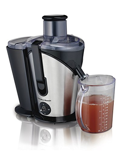 "Hamilton Beach Juicer Machine, Big Mouth 3"" Feed Chute, Easy to Clean, 2 Speeds, 800 Watts, BPA Free (67750), Black and Silver"