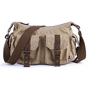 415 +OkrIqL. SS300  - Gootium lona de la vendimia bolsa de mensajero / hombro hombres de bolso, de 32 cm, de color caqui