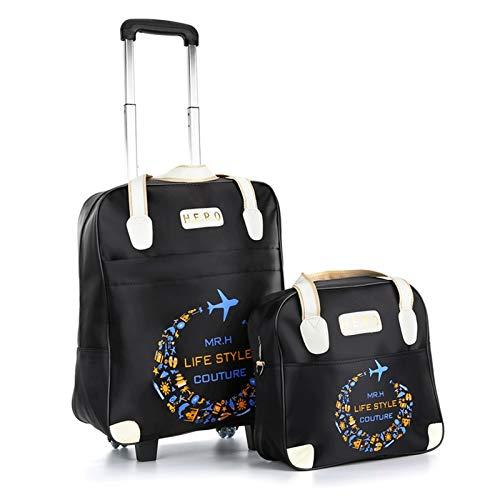 Vinteen Bolsa de Trolley Ligero Menores y Mujeres Bolsa de Viaje Turismo de Corta Distancia Turismo Impermeable Tarjeta de Equipaje Bolsa de Viaje Bolso Bolso Suitcases (Color : Negro)