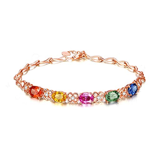 AmDxD Schmuck 18K Rose Gold Armband Damen Damenarmband Colorful Quadrat Sapphire Armreifen 0.66CT Rose Gold