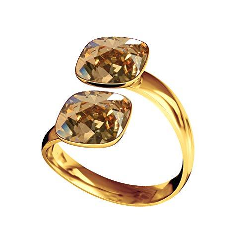 Beforya Paris – Anillo cuadrado de plata de ley 925 – Golden Shadow – Anillo de compromiso con elementos Swarovski – Plata de ley 925/chapado en oro 24 K – Anillo de mujer tamaño ajustable