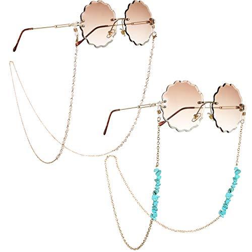 Lareina.C 2 Stück Gold Brillenkette für Damen, Metall Brillen Kette Türkis Sonnenbrillenkette Perlen Fit für Brillen/Sonnenbrillen/Lesebrillen