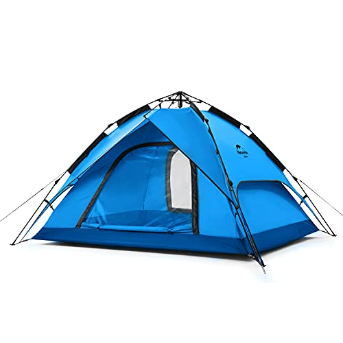 Naturehike Tente Escamotable pour 3-4 Personnes Tente de Camping Portative Tente Automatique à Double Usage Tente de Pique-Nique Familiale (3 Personnes Bleu)