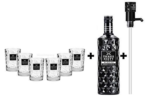 Three Sixty Set Geschenkset ? Three Sixty Black Vodka Wodka 3L 3000ml (42% Vol) + 6x Tumbler 0,2l 200ml Facettenschliff Glas + Pumpe- [Enthält Sulfite]