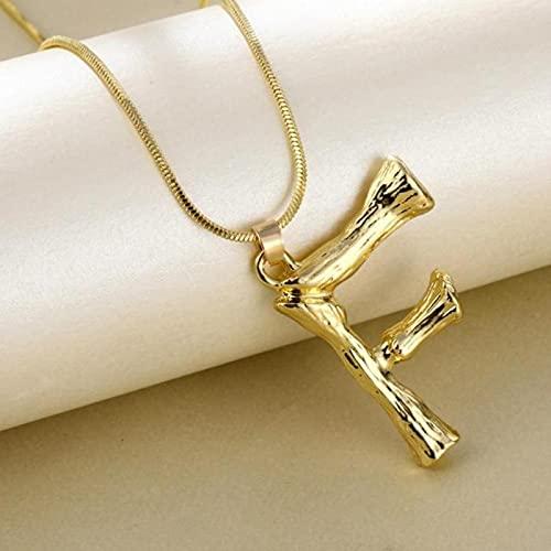 SONGK Collares de 26 Letras de bambú de Metal Dorado Grande para Mujer, Collar con Colgante de Alfabeto Inicial, Cadena de eslabones de Moda, joyería, Regalos