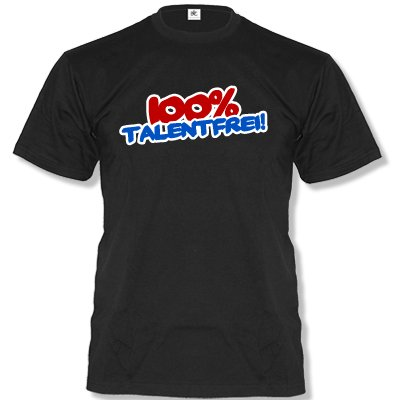 Comedy Shirts 100% sans Talent. Messieurs Fun T-Shirt Taille S à XXL Large Noir
