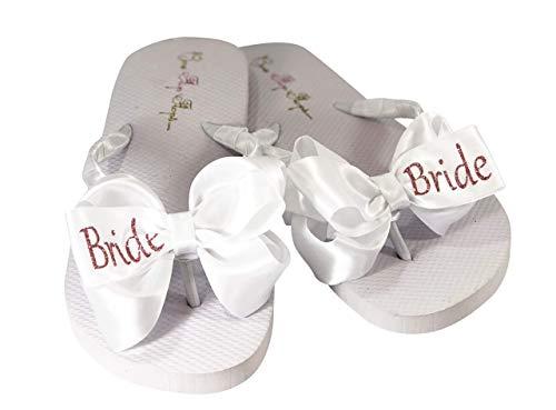 Rose Gold Bride Glitter Bow Flip Flops