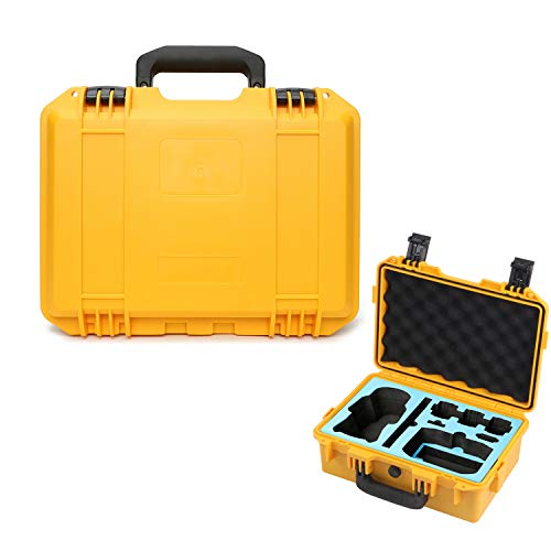 Carrying Case for DJI Mavic Air 2 Fly More Combo Accessories, Waterproof Rugged Compact Hard Case Accommodate Drone Controller Charging Hub ND Filter Set Adapter and Cables- Yellow