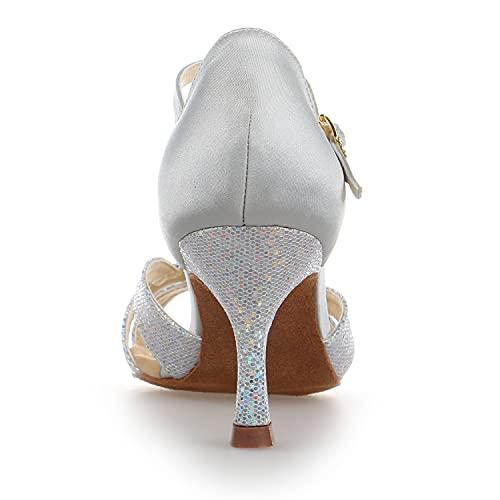 JIA JIA Y2054 Damen Sandalen Ausgestelltes Heel Super-Satin mit Pailletten Latein Tanzschuhe Silber, 42 - 6