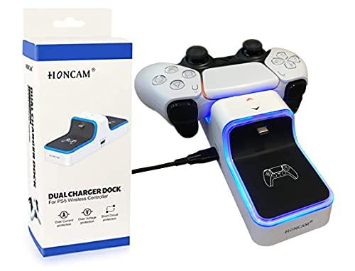 Cargador para mandos DualSense de Sony Playstation 5 - USB C - Indicador LED de carga completa - Base de carga para mandos de PS5 - Protección de cortocircuitos , voltaje y sobretensión.