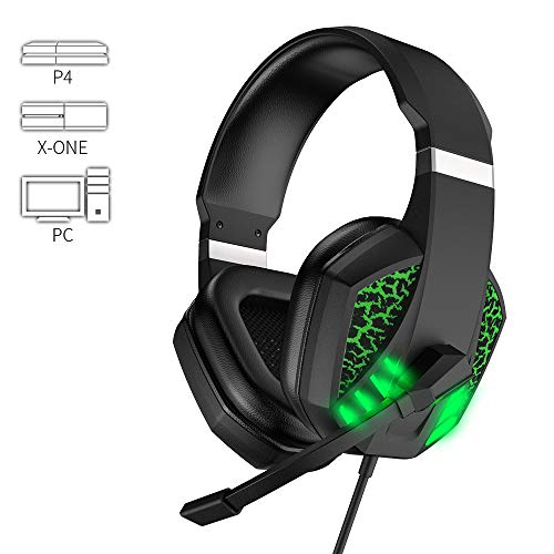 7100 Stereo Gaming Headset for PS4, PC, Xbox One Controller, Noise-canceling Microphone for Headset Headset, LED Light bass Surround Sound for Laptop Mac Nintendo Switch Gaming Headset