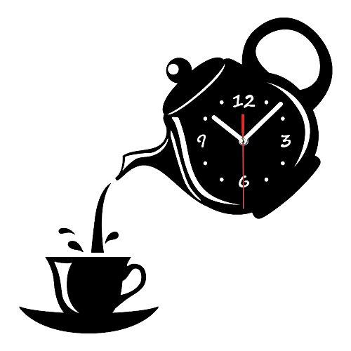 SanQing Reloj de Pared de Moda Creativa Sala de Estar Craft cafetera Espejo Reloj de Pared Pegatina,Black