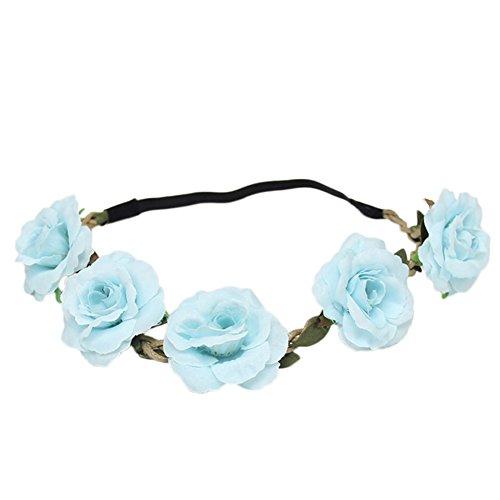 Westeng Damen Rose Blumenstirnband Haarband Kunststoff Haarschmuck Elastische Seil - Hellblau