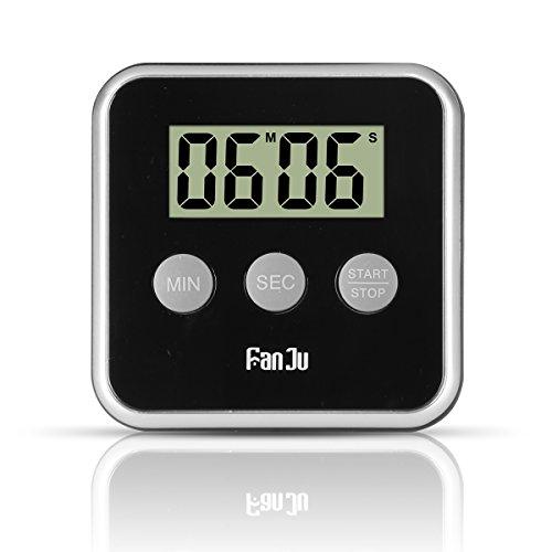 FanJu FJ231 Eieruhr Digital Küchentimer, Kitchen Timer with Big Display / Lauter Alarm / Magnetischer Rückseite / Einklappbarer Ständer / Einfache Bedienung Mini Countdown Alarm