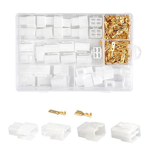 480 Piezas 2.8mm 2/3/4/6 Pin Kit de Conector Automotriz, Bloque de Terminales Automotriz, Kit de los Conectores Eléctricos para Motocicleta, Coche, Camión, Scooter, Barcos