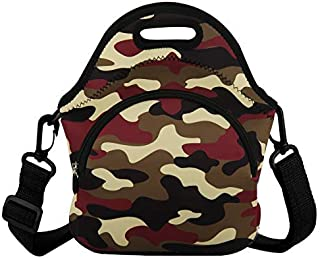 Neoprene Lunch Bag for Men & Women Cool Camouflage Lunch Pail with Zipper & Pocket Insulated Lunch Tote Large