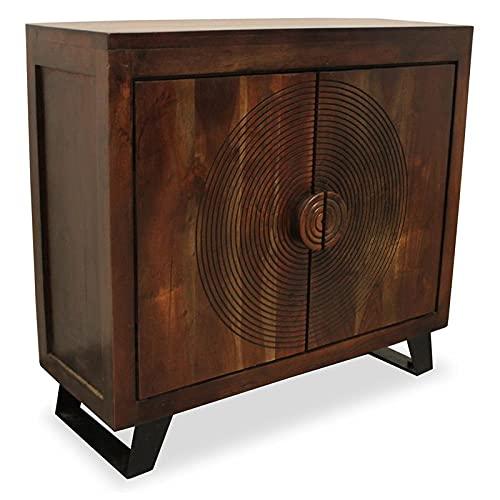 "MOTI Pema 32"" 2 Carved Doors Mid-Century Solid Wood Cabinet in Brown"