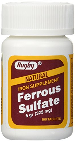 Rugby Ferrous Sulfate FC 325mg (5GR) Generic for Feosol Red Tablets 100 Tablets 3pk
