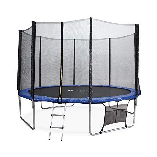 Alice's Garden - Cama elastica, Trampolin de 370 cm, aguanta hasta 150 kg (estructura reforzada). Inluye: escalera + funda protectora + bolsilla para zapatos - SATURNE XXL