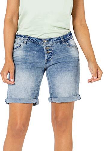 Sublevel Damen Jeans Bermuda-Shorts mit Denim Aufschlag Light-Blue L