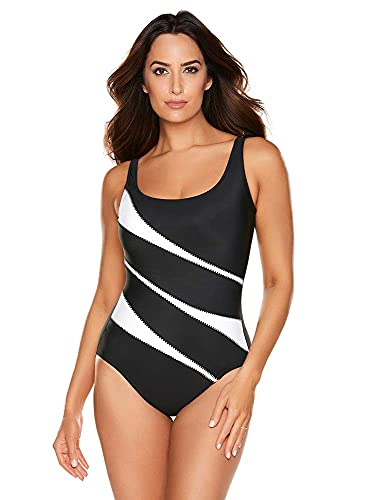 Miraclesuit Women's Swimwear Helix Tummy Control Scoop Neckline Underwire Bra One Piece Swimsuit, Black/White, 10