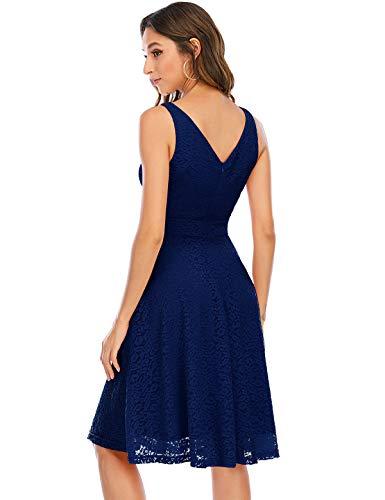 Bbonlinedress Kleid Damen cocktailkleid Gelb Damen Rockabilly Kleider Damen Kleider Hochzeit Abendkleider lang Geschenk für Frauen Petticoat Kleid Navy 3XL