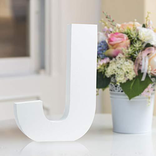 Multiple Sizes Decorative Wooden Alphabet Letters for Children Kids Bedroom Wedding Birthday Party Home Decor (J, 6inch / 15.24cm)