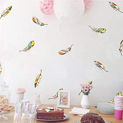 Pegatina de pared de plumas de colores Sala de estar Dormitorio Dormitorio Fondo de pared Decoración Calcomanías Combinación Pegatinas Inicio Papel Pintado