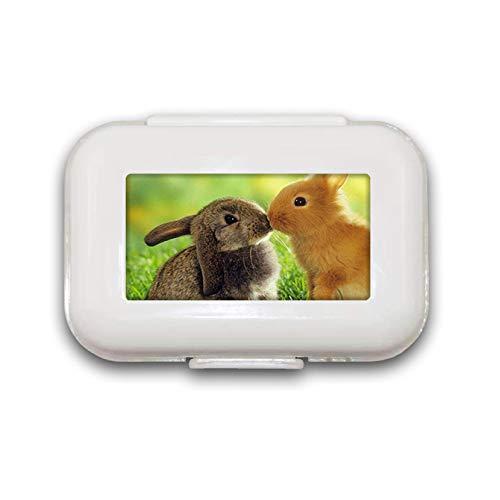 Bunnies Kussen Pil Box Pill Case Pill Organizer Decoratieve Boxen Pill Box voor Pocket of portemonnee - 8 Compartiment Pill Box/Pill case