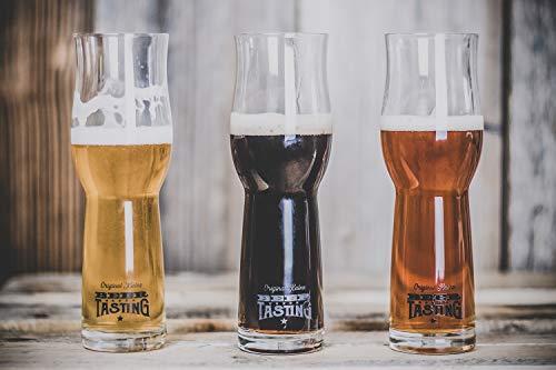 KALEA Bier-Verkostungs-Gläser 6 x 0,3 l | Original BeerTasting Degustationsgläser | Bierglas mit ausgestelltem Mundrand