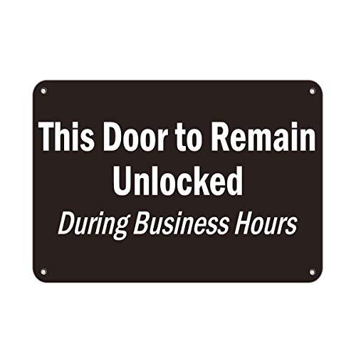 882 BOPNMJ This Door To Permanecer Desbloqueado Durante Horario de Negocios Vintage Metal Tin 20 x 30 cm Placa de pared Cartel para Cafe Bar Pub Bar Cocina o Tienda