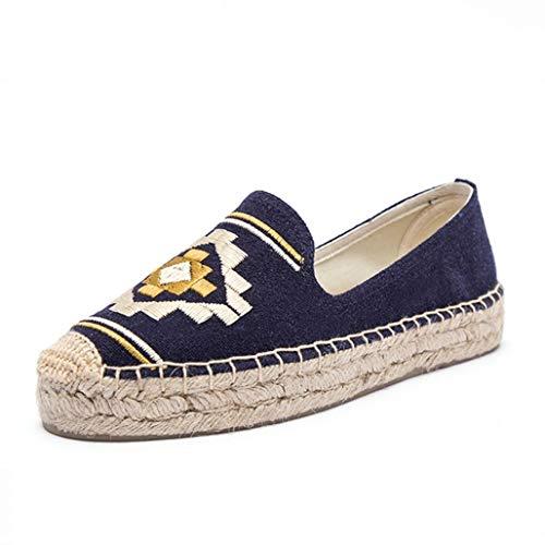Damen Ethnic Wind Espadrilles Runde Zehen Atmungsaktive Creepers Schuhe Casual Slip On Platform Chunky Loafers Retro Walking Flats
