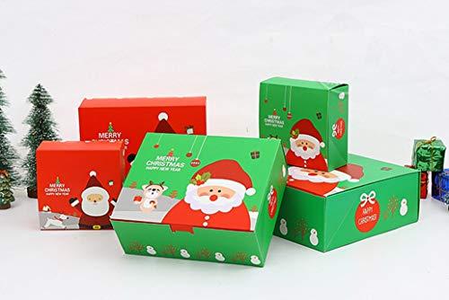 DiiDa - Cajas de regalo de Navidad, tamaño mediano, 21 x 17 x 8 cm, paquete de 12 unidades [2 colores, 6 unidades cada una] papel de regalo de Navidad con 12 tarjetas de Navidad