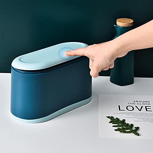 Mini Trash Can with Lid, Desktop Trash can,Tiny Trash can,Small Bathroom Trash can with lid,Small Trash can with lid for Office ,Kitchen, Bedroom,Makeup Holder for Bathroom (Blue)