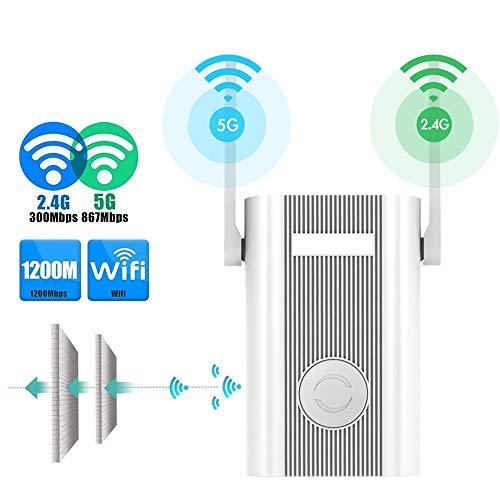 SJUAN Booster inalámbrica, WiFi Extensor de Alcance 1200Mbps repetidor de la señal del repetidor 2.4G + 5 GHz de Doble Banda WiFi Repetidor Amplificador/Punto de Acceso inalámbrico