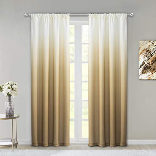 """Dainty Home Ombre Woven Shades of Color Rod Pocket Curtain Panel Pair Complete Set of 2, 40"""" wide x 84"""" long each, Gradient White to Golden"""