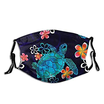 Sea Turtles And Flower Print Face Mask-Adjustable Ear Loops Reusable-With Filter Pocket-Unisex Gifts For Men&Women Animal Balaclava Bandana Cloth