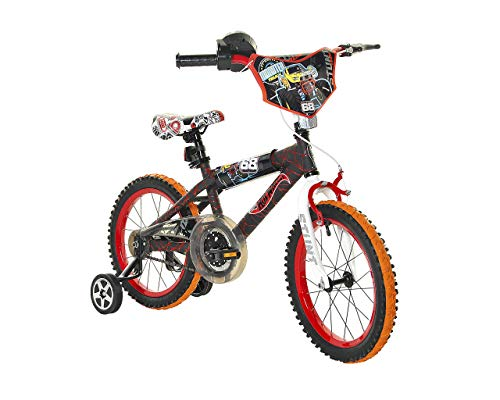 Dynacraft Hot Wheels Kids Bike Boys 16 Inch with Rev Grip Accessory, Front Hand Brake and Traning Wheels in Black