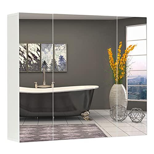 DICTAC Wandschrank,70 x 60 x 15 cm,Schrank mit Spiegel,3-türiger Schrank,mit Verstellbarem Regal, Modern, weiß Spiegelschrank fürs Bad