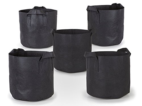 247Garden 5-Pack 3 Gallon Grow Bags/Aeration Fabric Pots w/Handles (Black)