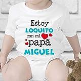 Regalo personalizado: body para bebé 'Estoy loquito con mi papá'...