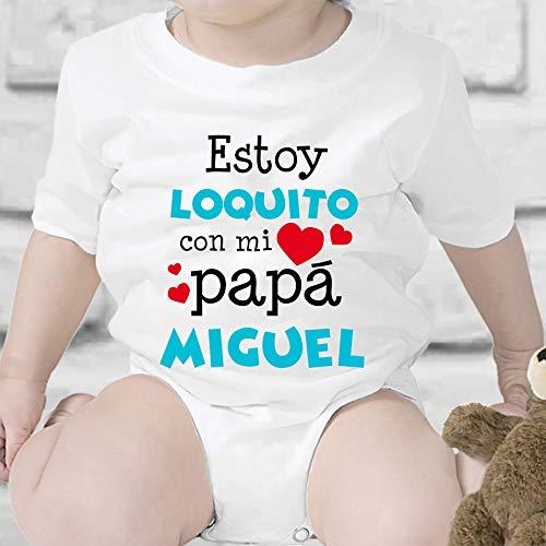 Regalo personalizado: body para bebé o camiseta infantil 'Estoy loquito con mi papá' personalizable con nombre