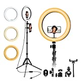"12"" Selfie Ring Light with Tripod,Ring Light with 63"" Tripod Stand and Flexible Phone HolderPhone Holder, Light Ring for Video Recording/YouTube/Instagram/Facebook,Compatible with All Cell Phones"