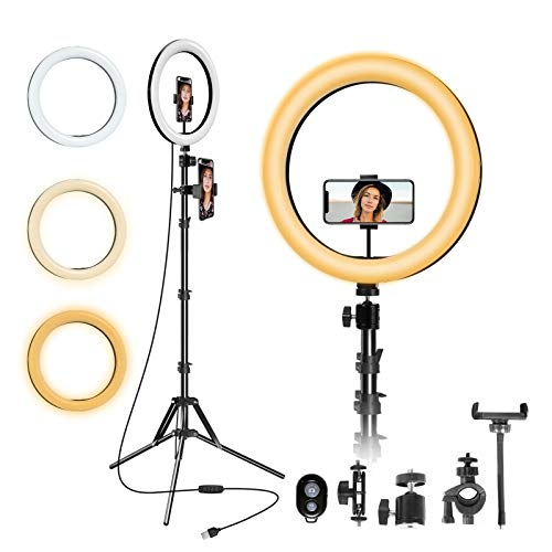 """12"""" Selfie Ring Light with Tripod,Ring Light with 63"""" Tripod Stand and Flexible Phone HolderPhone Holder, Light Ring for Video Recording/YouTube/Instagram/Facebook?Compatible with All Cell Phones"""