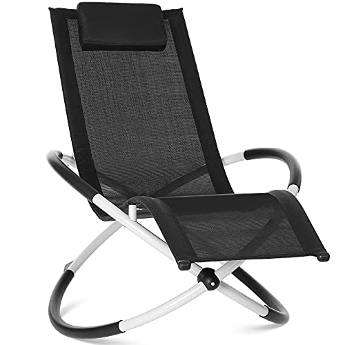 Relax Lounger Chaise Longue, Bain de Soleil, Chaise Berçante, Chaise Pliable, Ergonomique, avec Une Charge Maximale de 180 kg, Facile à Installer pour Les Jardins et Terrasses