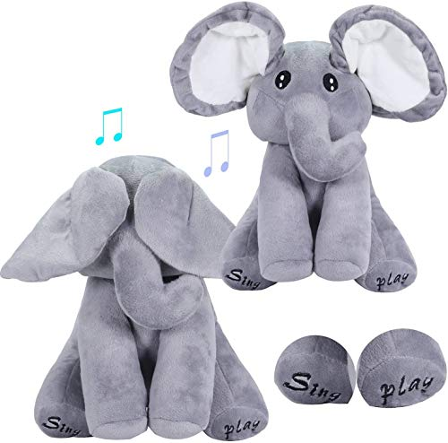 Peek A Boo Elephant Animated Talking Singing Elephant Plush Toy ,Baby Animated Elephant Plush Cute Toys Gift Stuffed Doll for Baby Tollders Kids Boys Girls Gift