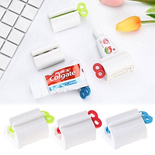 qiman Rolling Tubo Cosmetic dentífrico Squeezer asiento Stand elefante accesorios para cuarto de baño azul