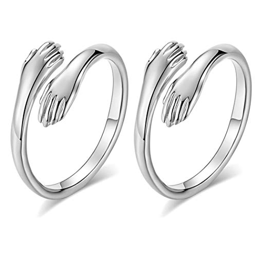 Simsly Hug Ring,925 Sterling Silver Hug Rings for Women Girls Silver Hugging Hands Open Promise Ring Jewelry Hug Hands Mens Rings Couples Wedding Bands(Pack of 2)